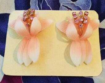 Vintage Flower Rhinestone Earrings  #18