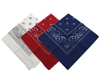"22"" x 22"" Bandanas Red, White, and Blue (12 Pack)"