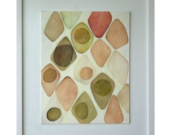 "Encaustic Collage - ""Avocados in Blush"""
