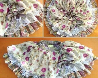 Purple Poppies Ruffles & Lace Girls Skirt- Size 4