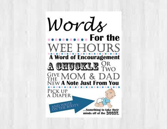 Diaper Signing Wee Hours Sign Baby Shower Printable  |Sign For Diaper Baby