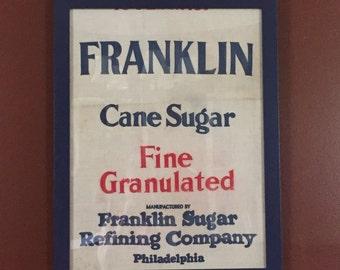 Vintage framed Philadelphia grain sack