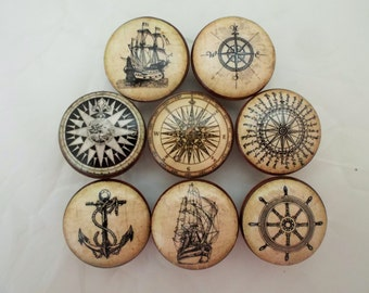 Compass rose etsy - Nautical kitchen cabinet hardware ...