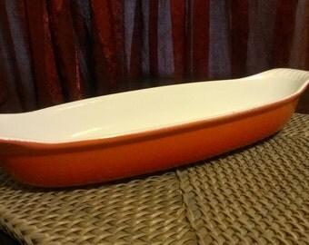 Vintage Descoware AuGratin Casserole Dish - Orange Enameled Cast Iron - LeCreuset