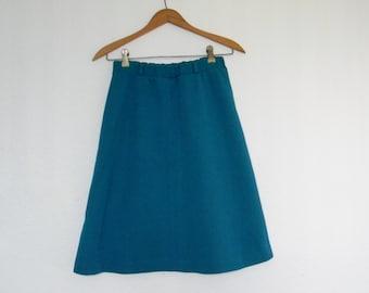 Vintage women's A line aqua blue retro plain hipster elastic waist minimalist knee skirt size s