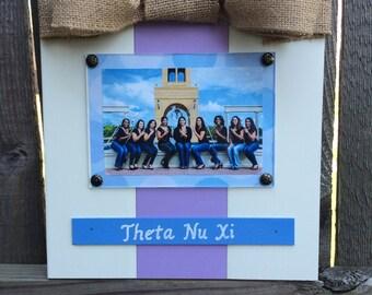 Theta Nu Xi Large Bow Table Top Frame with Burlap Ribbon