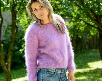 Hand Knit Mohair Sweater Lilac color Fuzzy Crew neck Jumper Pullover Jersey by Extravagantza