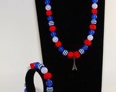 Red Blue and White Neon Eiffel Tower Jewellery Set