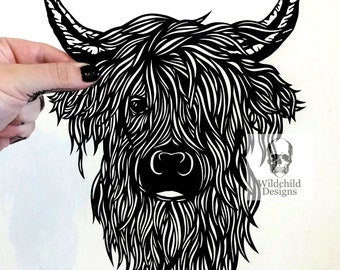 Highland Cow Paper Cutting Template Beautiful Scottish Cattle Heilan Coo for Personal or Commercial Use Papercut Cut by Wildchild Designs