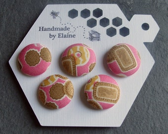 Fabric Covered Buttons - 5 x 22mm Buttons, Handmade Button, Candy Bubblegum Pink Biscuit Cookie Nice Party Ring Sweet Kawaii Buttons, 2526