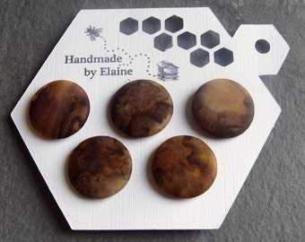 Fabric Covered Buttons - 5 x 22mm Buttons, Handmade Button,Dark Chocolate Cocoa Mocha Walnut Topaz Brown Marbled Mottled Planet Buttons 2534