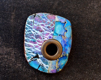 Polymer clay brooch bright