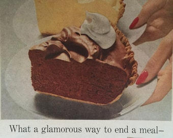 1958 Jell-O Chiffon Pie Filling Ad, great graphics.