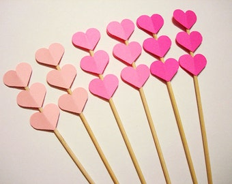 Set of 24Pcs - Blush, Bright Pink & Fuchsia MIX Triple Heart Skewer OR Stir Stick-  Birthday, Baby/Bridal Shower, Wedding, Fruit/Food Skewer