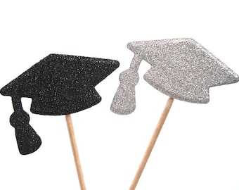 Set of 24Pcs - Double Sided Silver & Black Glitter Graduation Cupcake Toppers, Food Picks, Party Picks