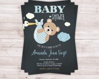 Bear baby shower invitation, baby boy invitation, baby shower invitation, Teddy bear baby shower.