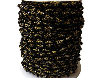 Black Pyrite  Cut Beads  , 3 mm 24k Gold Plated wire wrapped Rosary chain by 1 foot.