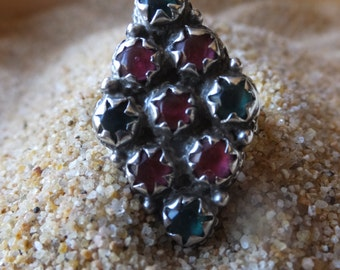 Mixed Gemstone and Turkmen Silver Ring.........Size 9