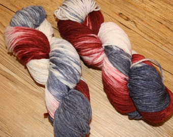 "Superwash Hand Dyed Sock Yarn:  ""Patriot"""