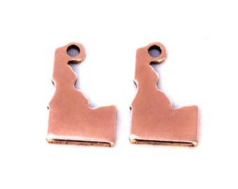 2x Rose Gold Plated Blank Idaho State Charms - M132-ID
