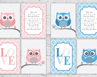 Boy or Girl Owl Nursery Print Set You Are Braver Than You Believe   5x7 & 8x10   Print-It-Yourself   Digital Download   Printable   Custom