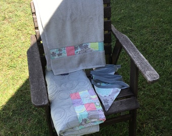 Modern Patchwork Crib Set, Cot Set - Unisex. Grey, blue and pink, modern quilt. Handmade Modern Cot Quilt, includes bunting and towel.