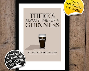 Personalised There's Always Time For Guinness Print Typographic Inspired Art Gift Poster Custom fun digital quote irish stout beer