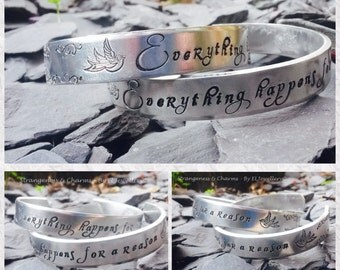 Hand stamped Marilyn Monroe Quote 'Everything Happens for a Reason' Aluminium Cuff Bracelet,Quote Jewelry, Metal Jewellery,Handmade Jewelry