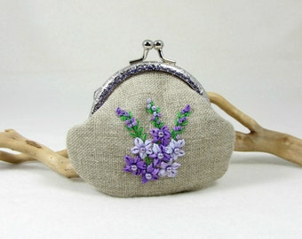 Linen coin purse,  hand embroidered purse, frame linen pouch, silk ribbon embroidery, purple