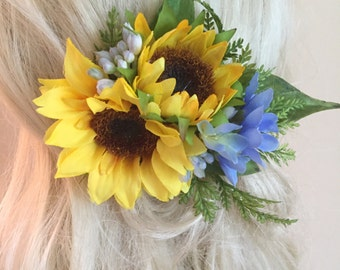 Sunflower wedding hair clip, wedding hair accessories, sunflower hairpiece, yellow and blue, flower hair clip, weddings, hair, bridal hair