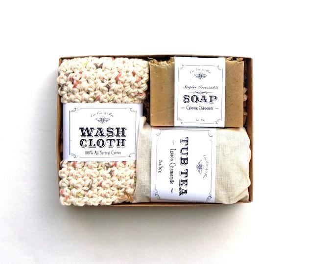 Chamomile Gift Set - Calming, Tub Tea, Handmade Soap, Cotton Crochet Washcloth ~ on sale