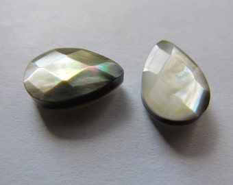 2 Pearl faceted 10x15x5mm briolettes