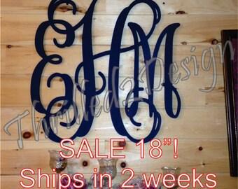 18 inch Painted Vine Monogram SALE - Ship in 2 weeks - Nursery, Wedding, Door Hanger