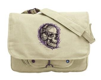 Skull Canvas Messenger Bag, Rockin' Skull Embroidered Canvas Messenger Bag