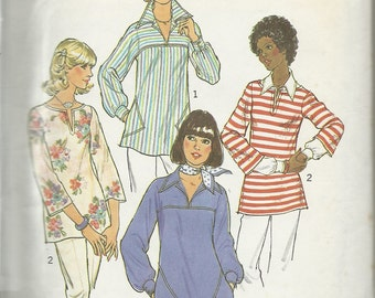 Simplicity  7446   Misses Pull-over  Tops        Size 12,14   C1976