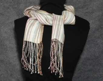 """Hand reeled, hand woven 100% silk scarf, naturally dyed 6.5"""" x 84"""" from silk raised in Illinois"""