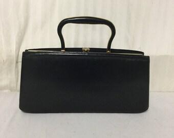 Free Ship Black Vintage Purse 50s/60s Handbag