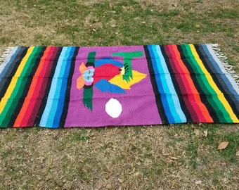 "Mexican Indian Blanket,  Owl ,bird ,Fringed, Striped,blanket, Purple, Green, Blue, Yellow, 82""  L x 49"" W"