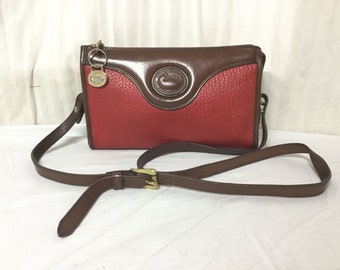 Dooney and Bourke,Leather bag,purse, All Weather Leather, Shoulder Bag, Red ,British Tan