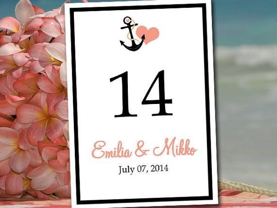 Printable Wedding Table Number Template - Beach Wedding Instant ...
