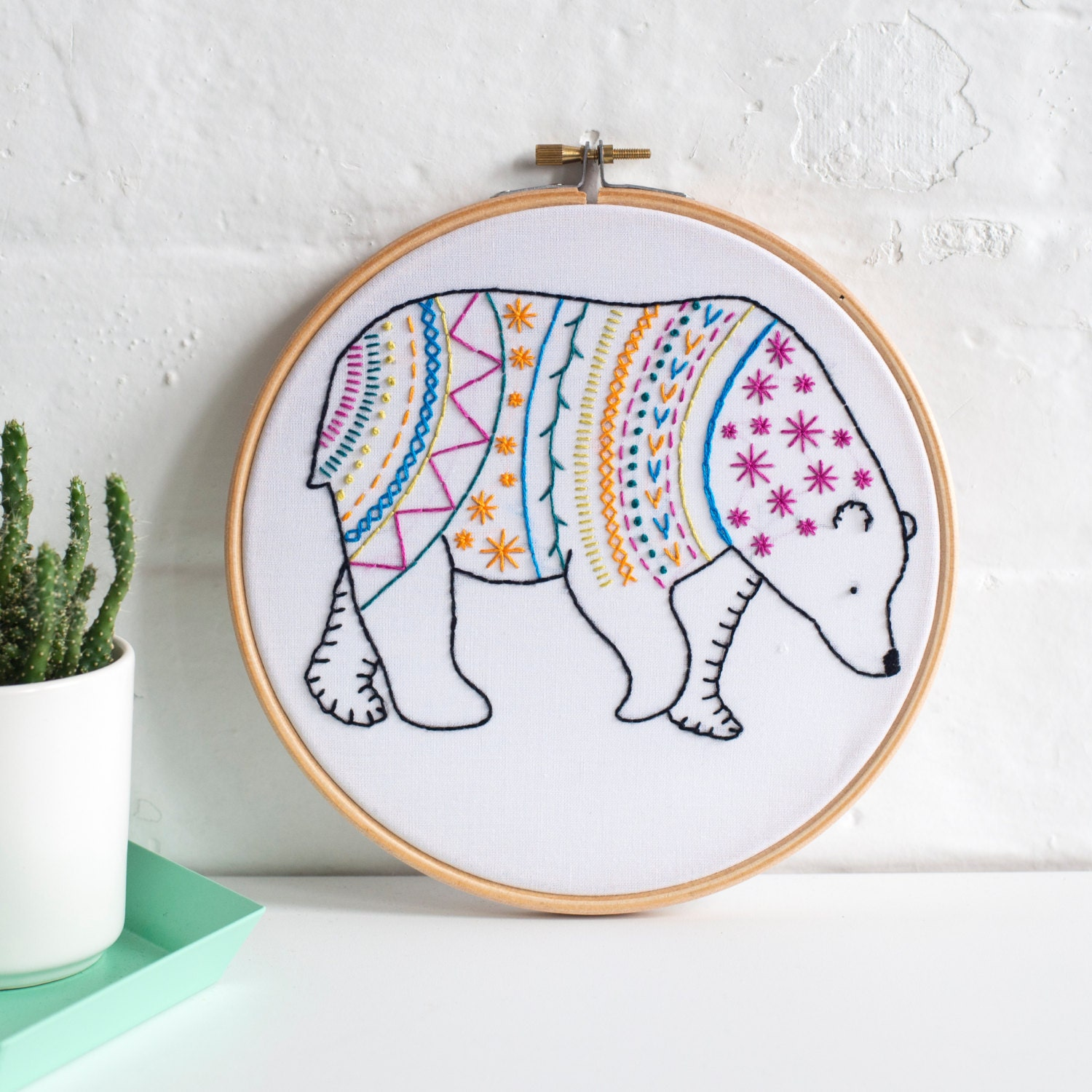 Bear contemporary embroidery kit hoop art