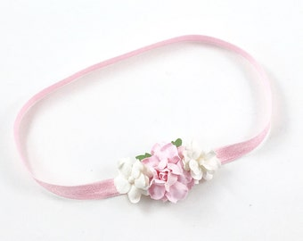 Pink Headband, pink and cream headband, pink Flower Girl Headband, pink newborn headband, pink newborn photo prop, pink flower headband