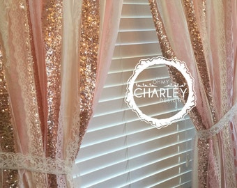 Rose Gold Sparkle Sequin Garland Curtain with Lace - Nursery Decor, Curtain, Window Treatment