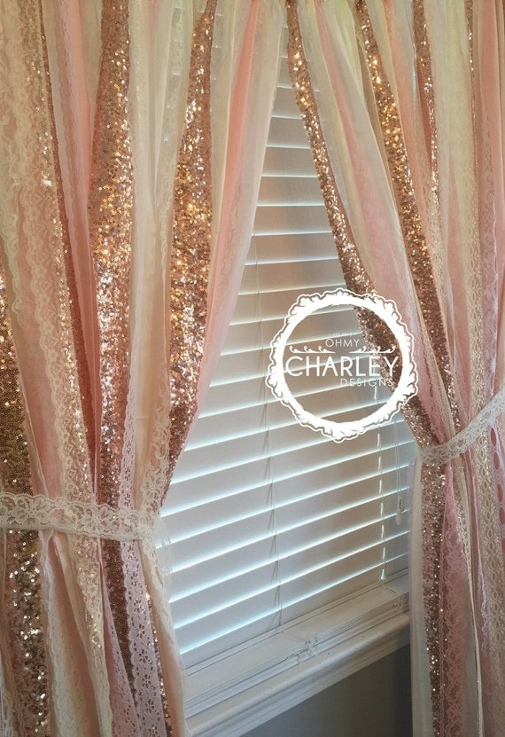 Rose Gold Sparkle Sequin Garland Curtain With Lace Nursery