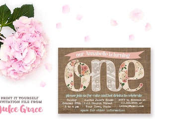 printable 1st birthday invitations, baby girl invitation, boho chic burlap invitation, floral kids birthday party, shabby style 1st birthday