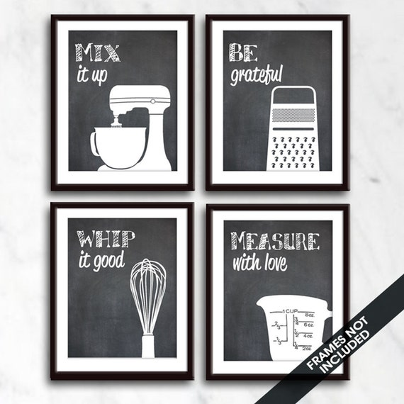 Funny kitchen art print set mixer grater whisk measuring for Funny kitchen set