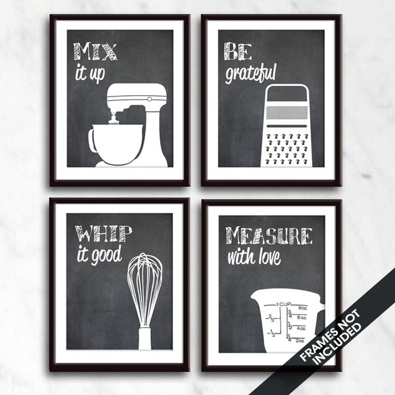 Kitchen Art Mixer: Funny Kitchen Art Print Set Mixer Grater Whisk Measuring