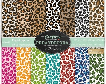 Leopard Digital Paper Pack - 14 leopard papers/ 8,5x11 inches(A4) - PA10005