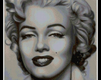 Cross stitch pattern - PDF pattern - cross stitch Marilyn Monroe - cross stitch - Marilyn Monroe black and white - Instant Download!