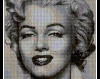 Cross stitch pattern - PDF pattern - Marilyn Monroe black and white - Instant Download!